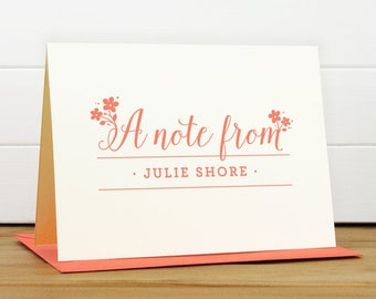 DELIGHT Personalized Stationery Set - Personalized Stationary Set - Custom Personalized Notecard Set - Feminine Cute Flower Thank You Card