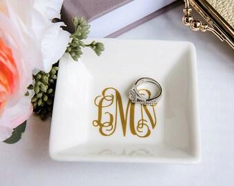 Jewelry dish, personalized ring dish, bridesmaid gift, personalized jewelry dish, bridal shower gift, monogram ring dish, free shipping