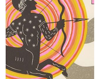 sagittarius astrology silkscreen horoscope art