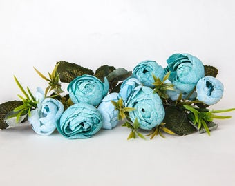 10 Small Mini Vintage Inspired Ranunculus Buds in Bright Blues plus Foliage - silk artificial flower - ITEM 01103