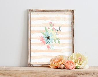 Floral Print Art, Printable Art, Girl Nursery Decor, Watercolor Print, Baby Girl Nursery Wall Art, Shabby Chic Home Decor, Digital Download