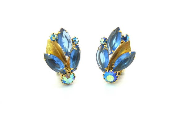 Vintage Weiss Blue Rhinestone & Metal Leaf Earrings 1950's Fashion Jewelry