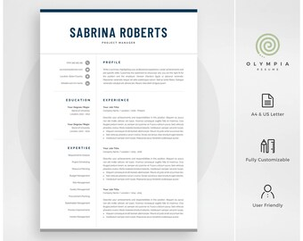 Professional Resume Template | Instant Download | Modern CV Template for Word | Cover Letter | Creative Resume Design | Mac & PC | Sabrina