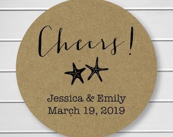 Cheers Starfish Wedding Stickers, Kraft Color Names and Date Wedding Sticker, Wedding Date Stickers, Wedding labels (#048-2-KR)
