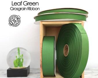 Leaf Green Grosgrain Ribbon - 4 widths - Berwick Offray green grosgrain ribbon - USA made green grosgrain -  (558) moss green, kelly green