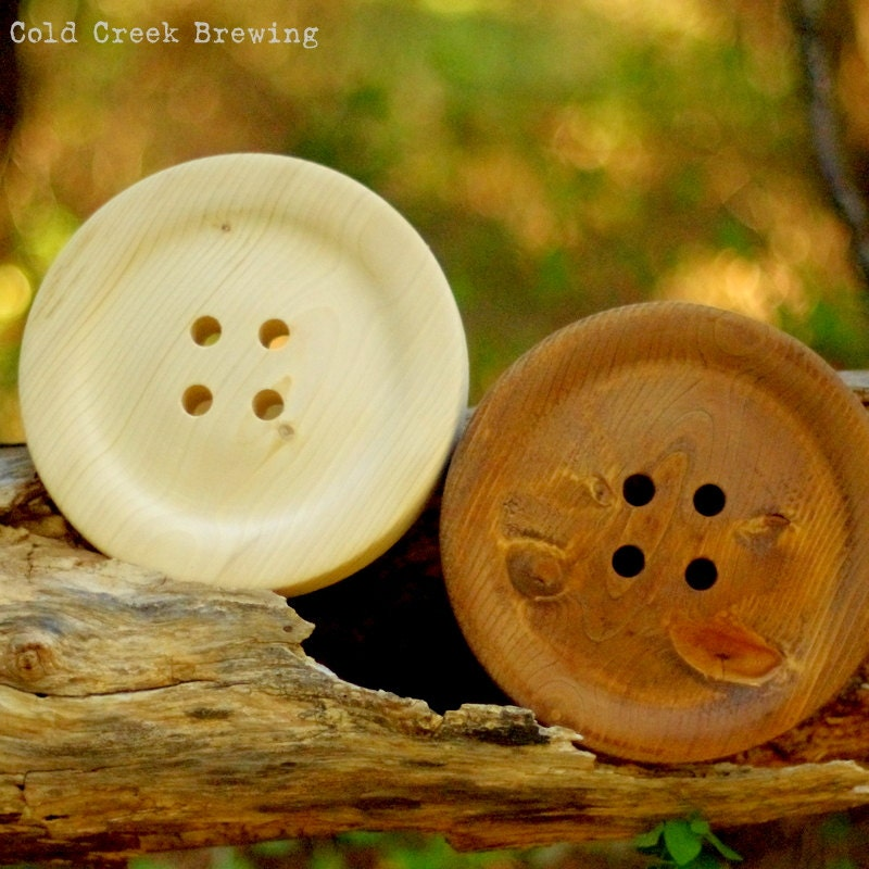 Large 8.5 Inch Wooden Button Huge Wood Button Big Button