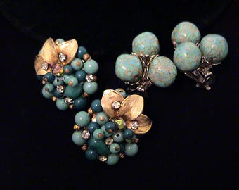Two Pairs of Vintage Turquoise Blue Art Glass Earrings, 1 signed Robert