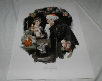 """2 Norman Rockwell Prints - Playing Santa + Shall We Dance? - 1 Page from 1979 Book - Collectible + Frameable Wall Art - 11.75"""" X 15""""   53-14"""