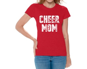 Cheer Mom Shirt Cheerleader Mom Tshirt Sports Mom T Shirt Funny Mother's Day Gifts for Women Cheerleader Outfit for Mom Cheer Mom T-Shirt