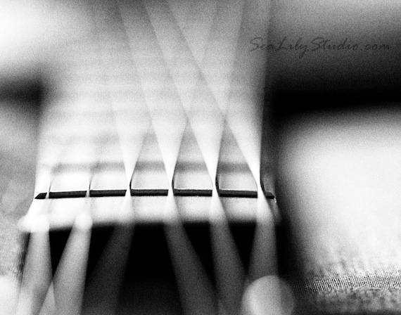 Acoustic Frets Abstract Guitar Photo Black White Macro