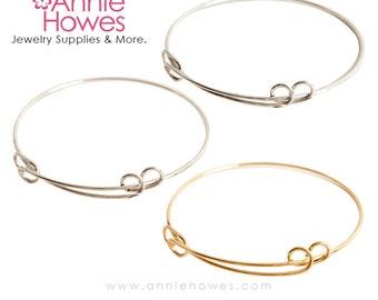 Adjustable Bangle Bracelet in Silver or Gold. Charm Bracelet.