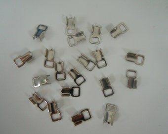 Rhodium Plated Flat Cord or Ribbon Fold Over End Caps Jewelry Supply