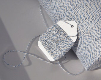 Bakers Twine - Sky Blue and White Bakers Twine Shown - Your Choice of Color - 5, 10, 15, 25 or 50 yards