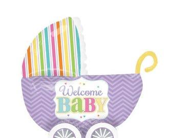 "Welcome Baby Foil Balloon - 12""x 30"" baby shower"