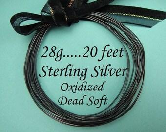 28g gauge ga, 20 Ft Sterling Silver Round Wire, OXIDIZED  Dead Soft BULK