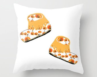 Outdoor Pillow Cover with Pillow Insert, Outdoor Pillow Cover,  Baby loves moccasins with pumpkins on top