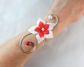 Matt - White and red wedding flower wedding Bracelet