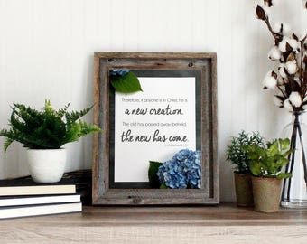 2 Corinthians 5:17 Bible Verse   Scripture Wall Art Print   New Creation in Christ - instant download printable quote