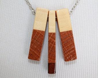 3 piece wood pendant necklace