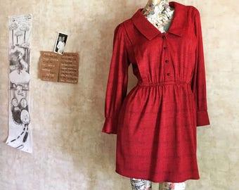 Vintage Red and Black Mini Skirt Shirtdress Dress medium
