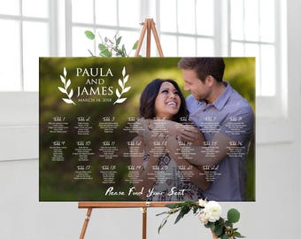 Photo seating chart wedding, printable Digital wedding sign, wedding seating assignment, table assignment personalized photo seating plan