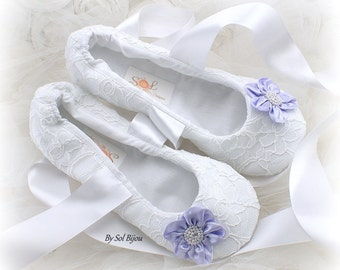 White Wedding Flats,Lilac,White Ballet Flats,Lace Flats,Ballet Slippers,Flower Girl Flats,Maid of Honor,Elegant Wedding,Lace Up Flats,Shoes
