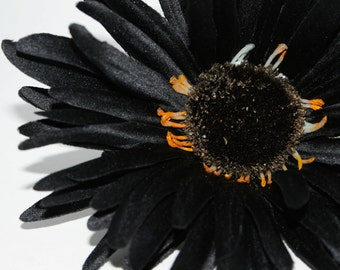 Black Wild Gerbera Daisy - Artificial Flowers, Silk Flower Heads - PRE-ORDER