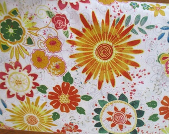 NEW Faithfully Yours quilting fabric by Barb Tourtillotte for Clothworks  white with gold flowers 1 yard
