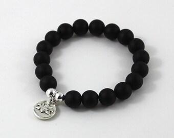 Inspirational Jewelry, Lotus Charm Worry Beads Mala Bracelet, Onyx Chakra Beaded Bracelet, Yoga Gift Buddhist Friend, Get Well, Mindfulness