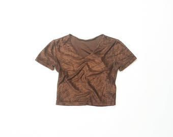 90s Velour Half Shirt Belly Tee 1990s Crushed Velvet Crop Top Stretch Brown Midriff Soft Grunge Goth Autumn Blouse Fitted Terry Cloth XS