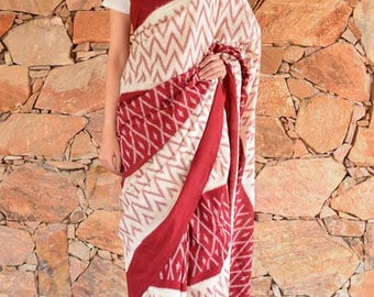 Maroon and White Patola Sarees