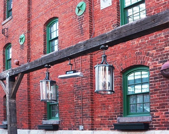 Secretly Incredible Red Bricks Green Window - Wall Decor - Fine Art Photography Print - Red, Brick, Rustic, Toronto, Distillery District