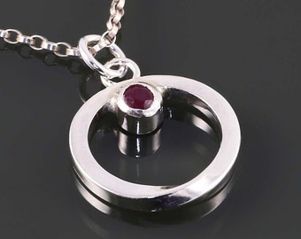 Ruby Möbius Pendant. Sterling Silver Necklace. Genuine Gemstone. July Birthstone. Gift for Her. Eternity. MBP03-GEN-JUL