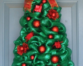 metallic green deco mesh christmas tree wreath all red ornaments and ribbons wreath wall or door