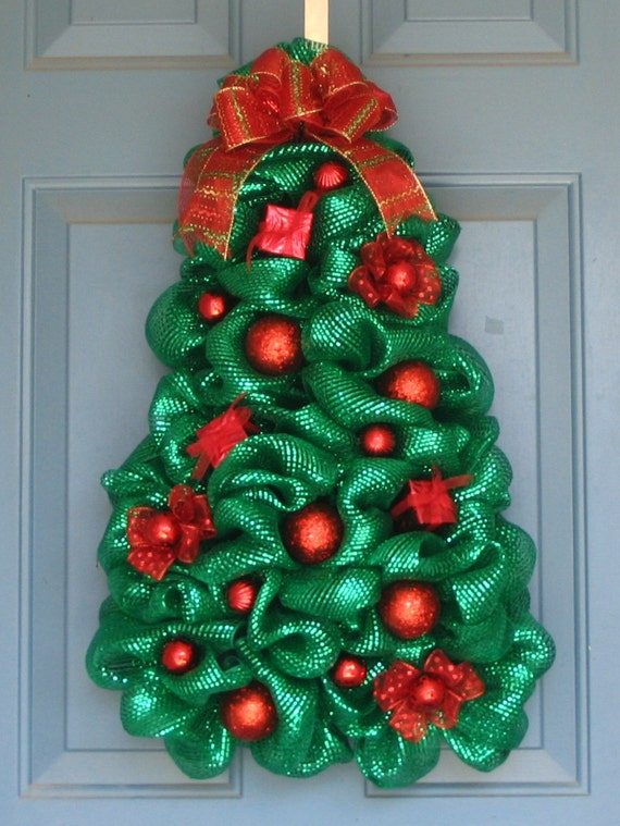 Metallic Green Deco Mesh Christmas Tree Wreath All Red