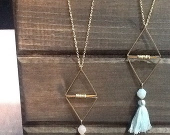 Double triangle tassel necklace