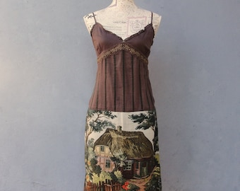 Brown Fairy tale Dress, Forest Farm Dress, Trees, Mountains, Cottage, Vintage Gobelin Tapestry Fabric Clothing size 4 EU size 34