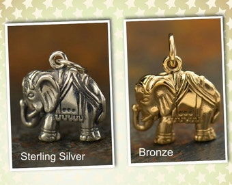 Sterling Silver or Natural Bronze Elephant Charm.