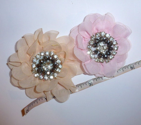 Puppy Bows ~ Pink or peach rhinestone daisy pet hair bow barrettes or bands (fb103)