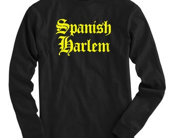 LS Spanish Harlem Tee - Gothic NYC Long Sleeve T-shirt - Men and Kids - S M L XL 2x 3x 4x - New York City Shirt, Uptown - 4 Colors