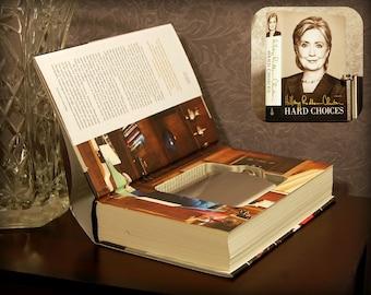 Hollow Book Safe & Flask - Hard Choices by Hillary Clinton - Secret Book Safe