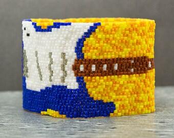 Blue and Yellow Seed Bead Bracelet, Guitar Gift, Rock n Roll, Cuff Bracelet, Beaded Jewelry, Sale