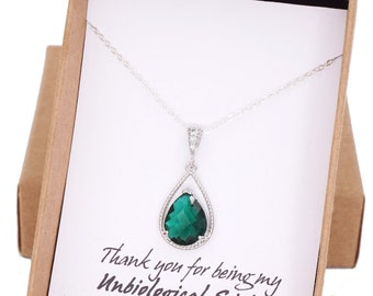 Mabel - Emerald Glass Teardrop Necklace, Cubic Zirconia bail, gifts for her, wedding, Emerald green Bridal Bridesmaid necklaces, Bridesmaids
