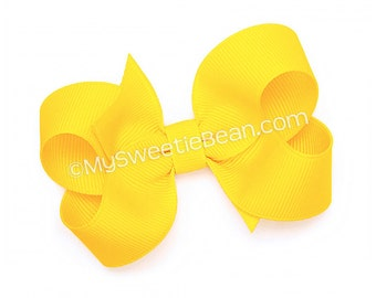 "Yellow Hair Bow, 3 inch Boutique Bow, Twisted Boutique Bow, Classic Hairbow, 3"" Grosgrain Bow for Baby Girls, Bright Yellow Toddler Hair Bow"