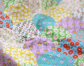 Tiny Shabby Floral Cotton Linen Fabric, Flower Ginkgo Leaves Patchwork Linen Fabric - 1/2 yard