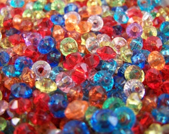 FREE SHIPPING - 172 pcs Faceted Rondelle Acrylic Beads (#1309)