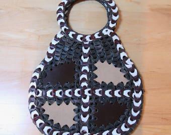 Super Cool Handmade Vintage 1960's Hippie Leather Shoulder Bag w/ Circle Handle