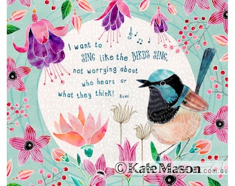 Fairy Wren Song Bird ART PRINT