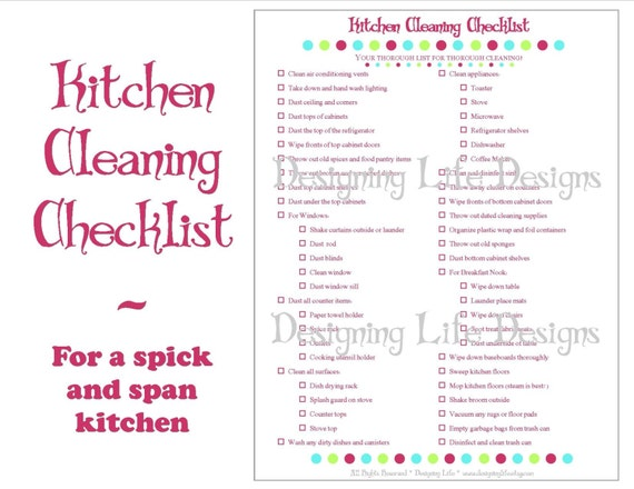 Kitchen Cleaning Checklist Pdf Printable Home Management