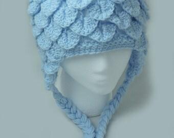 Light Blue Crochet Crocodile Stitch Hat